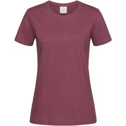 textil Dam T-shirts Stedman  Burgundy Red