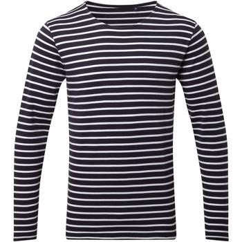 textil Herr Långärmade T-shirts Asquith & Fox AQ070 Marinblått/vit
