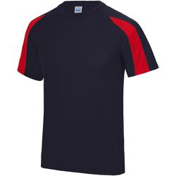 textil Herr T-shirts Just Cool JC003 Marinblått/brandrött