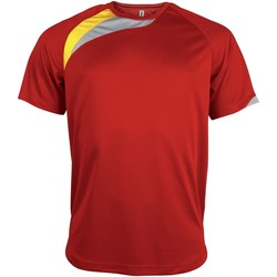 textil Herr T-shirts Kariban Proact PA436 Röd/ svart/ stormgrå