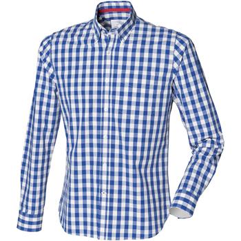 textil Herr Långärmade skjortor Front Row FR500 Blå ruta