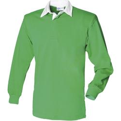 textil Herr Långärmade pikétröjor  Front Row FR100 Ljusgrön/vit