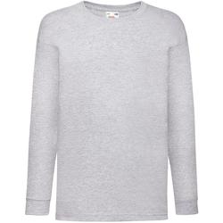 textil Barn Långärmade T-shirts Fruit Of The Loom 61007 Grått