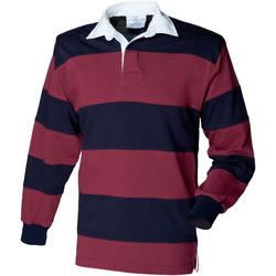textil Herr Långärmade pikétröjor  Front Row FR08M Burgundy/Navy