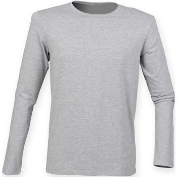 textil Herr Långärmade T-shirts Skinni Fit SF124 Grått