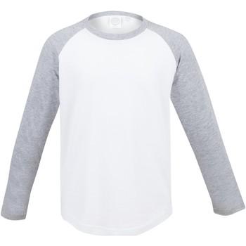 textil Barn Långärmade T-shirts Skinni Fit SM271 Vit / grått