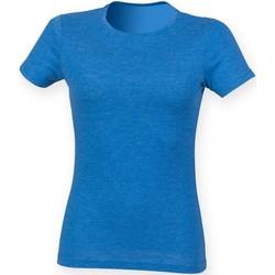 textil Dam T-shirts Skinni Fit SK161 Blå triblend