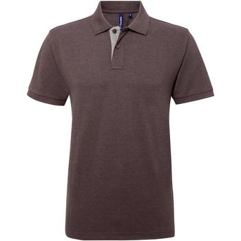 textil Herr Kortärmade pikétröjor Asquith & Fox AQ012 Charcoal/ Heather Grey