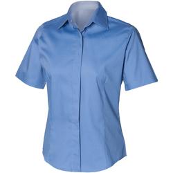 textil Herr Kortärmade skjortor Henbury HB556 Blått för företag