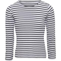 textil Dam Långärmade T-shirts Asquith & Fox AQ071 Vit/marinefärgad
