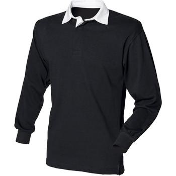 textil Herr Långärmade pikétröjor  Front Row FR100 Svart/vit