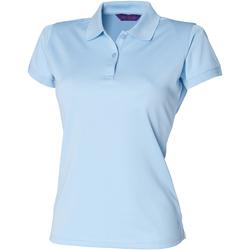 textil Dam Kortärmade pikétröjor Henbury Coolplus Ljusblå