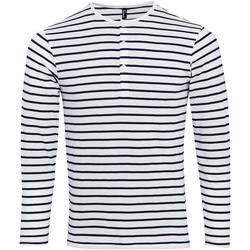 textil Herr Långärmade T-shirts Premier Long John Vit/marinefärgad