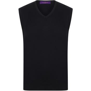 textil Herr Linnen / Ärmlösa T-shirts Henbury HB724 Svart