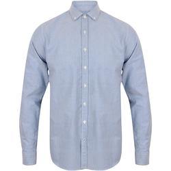 textil Herr Långärmade skjortor Front Row FR502 Ljusblå