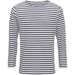 textil Herr Långärmade T-shirts Asquith & Fox AQ070 Vit/marinefärgad