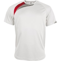 textil Herr T-shirts Kariban Proact PA436 Vit/röd/ stormgrå