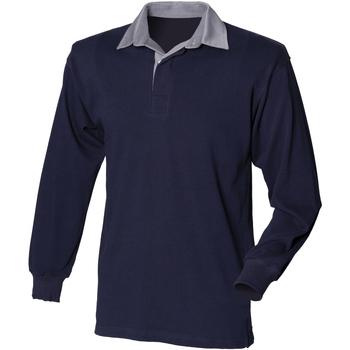 textil Herr Långärmade pikétröjor  Front Row Rugby Marinblått/skifferkrage