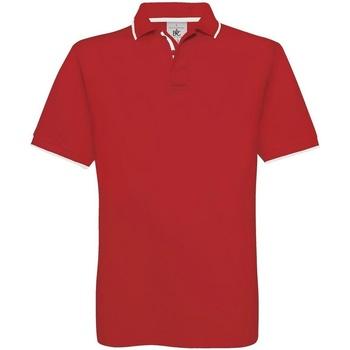 textil Herr Kortärmade pikétröjor B And C BA351 Röd/vit