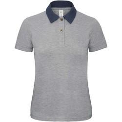 textil Dam Kortärmade pikétröjor B And C B803F Denim/ grått i grått
