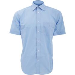 textil Herr Kortärmade skjortor Kustom Kit KK102 Ljusblå