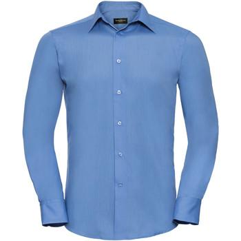textil Herr Långärmade skjortor Russell 924M Blått för företag