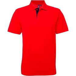 textil Herr Kortärmade pikétröjor Asquith & Fox AQ012 Röd/marint