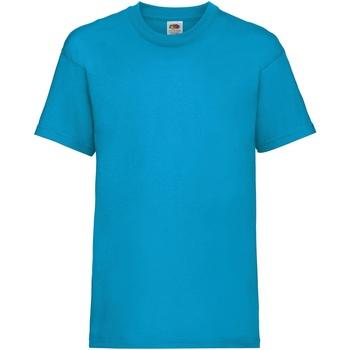 textil Barn T-shirts Fruit Of The Loom 61033 Azurblått