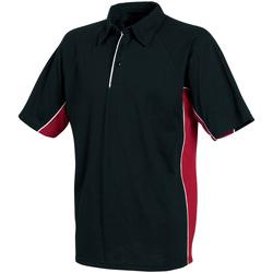 textil Herr Kortärmade pikétröjor Tombo Teamsport TL065 Svart/röd/vita kantareller