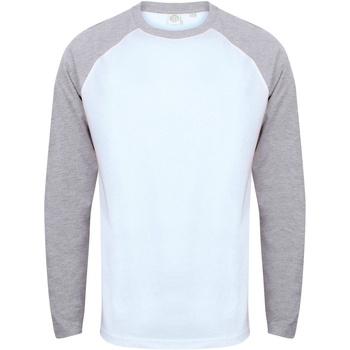 textil Herr Långärmade T-shirts Skinni Fit SF271 Vit / grått