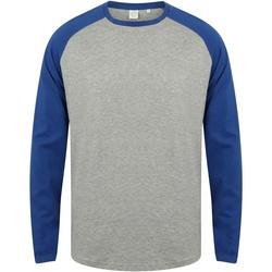 textil Herr Långärmade T-shirts Skinni Fit SF271 Grått / Royal