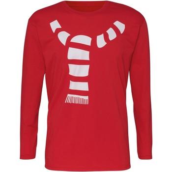 textil Herr Långärmade T-shirts Christmas Shop CJ205 Röd