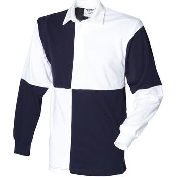 textil Herr Långärmade pikétröjor  Front Row FR02M Vit/Navy (vit krage)