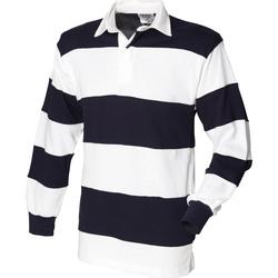 textil Herr Långärmade pikétröjor  Front Row FR08M Vit och marinblått (vit krage)