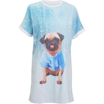 textil Dam Pyjamas/nattlinne Christmas Shop CS043 Ljusblå mops