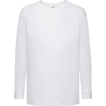 textil Barn Långärmade T-shirts Fruit Of The Loom 61007 Vit