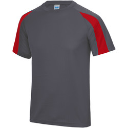 textil Herr T-shirts Just Cool JC003 Antracit/ eldrött