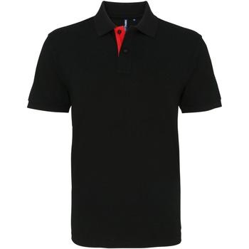 textil Herr Kortärmade pikétröjor Asquith & Fox AQ012 Svart/röd