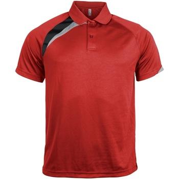 textil Herr Kortärmade pikétröjor Kariban Proact PA457 Röd/ svart/ stormgrå
