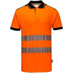 textil Herr Kortärmade pikétröjor Portwest PW368 Orange/Svart