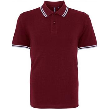 textil Herr Kortärmade pikétröjor Asquith & Fox AQ011 Burgundy/ Sky