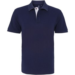textil Herr Kortärmade pikétröjor Asquith & Fox AQ012 Marinblått/vit