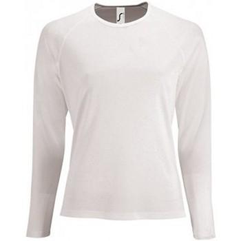 textil Dam Långärmade T-shirts Sols 2072 Vit