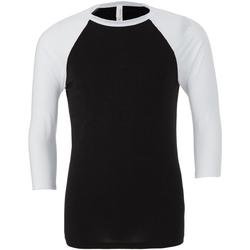 textil Herr Långärmade T-shirts Bella + Canvas CA3200 Svart/vit