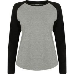 textil Barn Långärmade T-shirts Skinni Fit SM271 Grått / svart