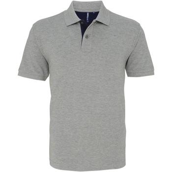 textil Herr Kortärmade pikétröjor Asquith & Fox AQ012 Ljung/ Marinblått