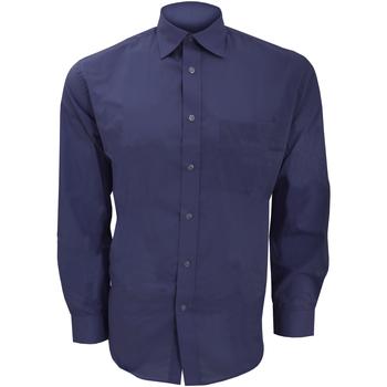 textil Herr Långärmade skjortor Kustom Kit KK104 Mörkblått