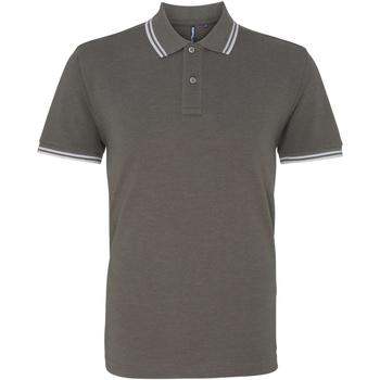 textil Herr Kortärmade pikétröjor Asquith & Fox AQ011 Charcoal/vit
