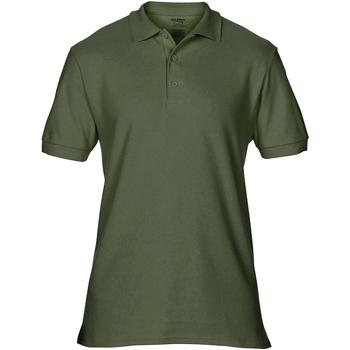 textil Herr Kortärmade pikétröjor Gildan Premium Militärt grönt