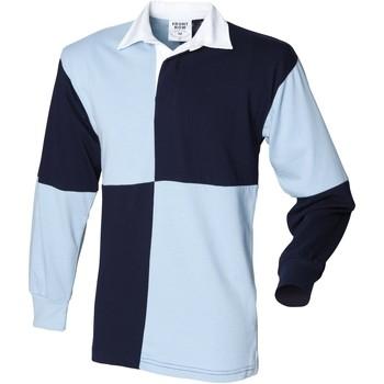 textil Herr Långärmade pikétröjor  Front Row FR02M Marinblått/Sky (vit krage)